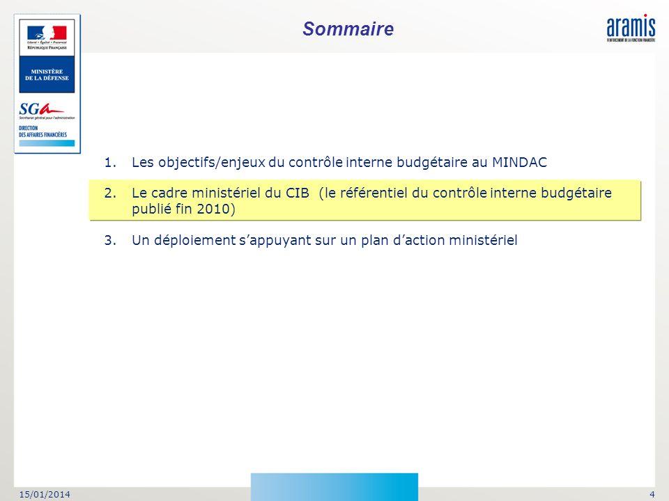 Sommaire Les objectifs/enjeux du contrôle interne budgétaire au MINDAC