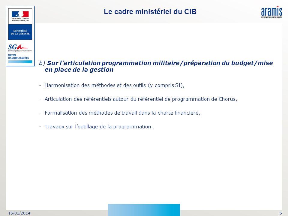 Le cadre ministériel du CIB