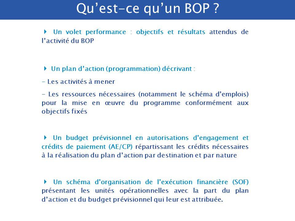 Qu'est-ce qu'un BOP 4 Un volet performance : objectifs et résultats attendus de l'activité du BOP.