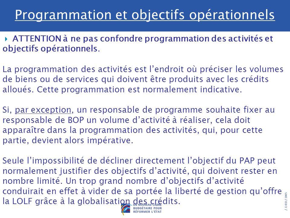 Programmation et objectifs opérationnels