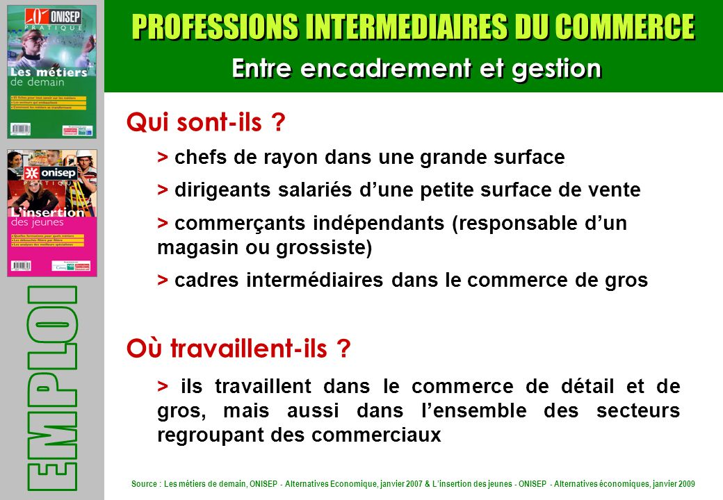 PROFESSIONS INTERMEDIAIRES DU COMMERCE