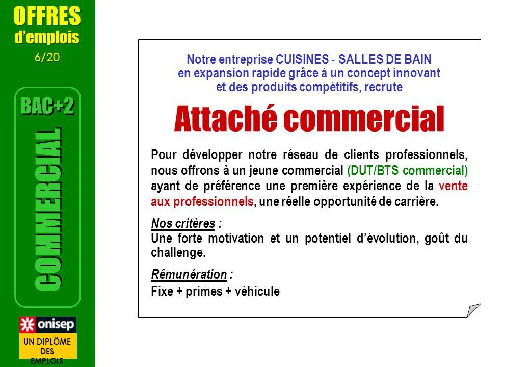 Attaché commercial COMMERCIAL OFFRES BAC+2 d'emplois