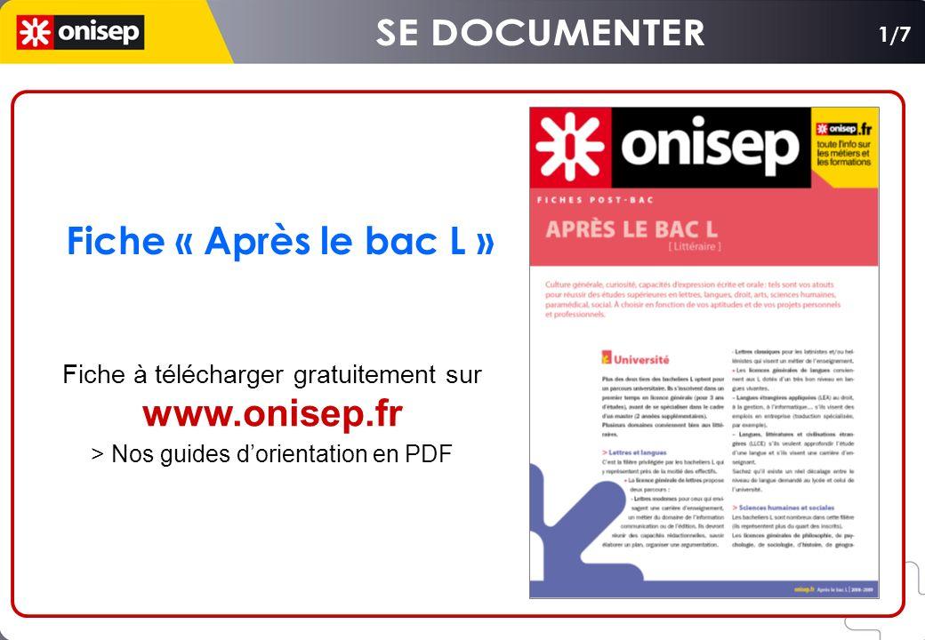 SE DOCUMENTER Fiche « Après le bac L » www.onisep.fr