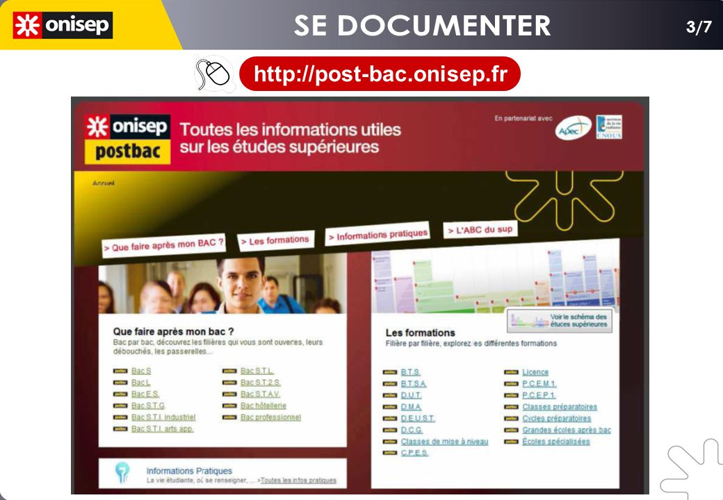 SE DOCUMENTER 3/7 http://post-bac.onisep.fr
