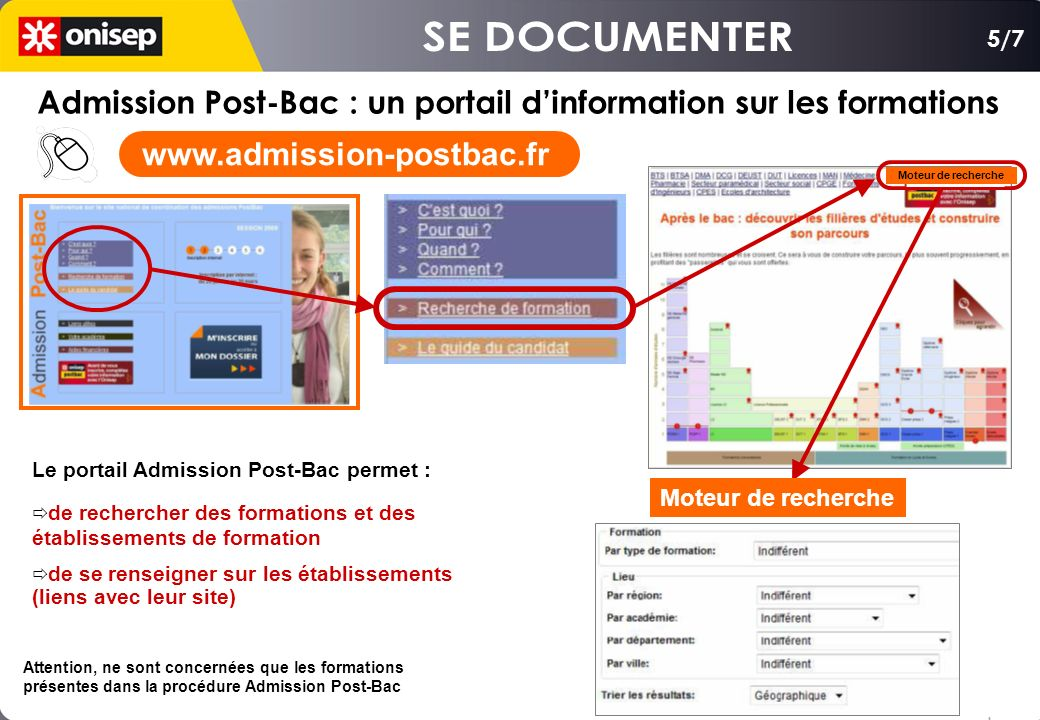 SE DOCUMENTER 5/7. Admission Post-Bac : un portail d'information sur les formations. www.admission-postbac.fr.