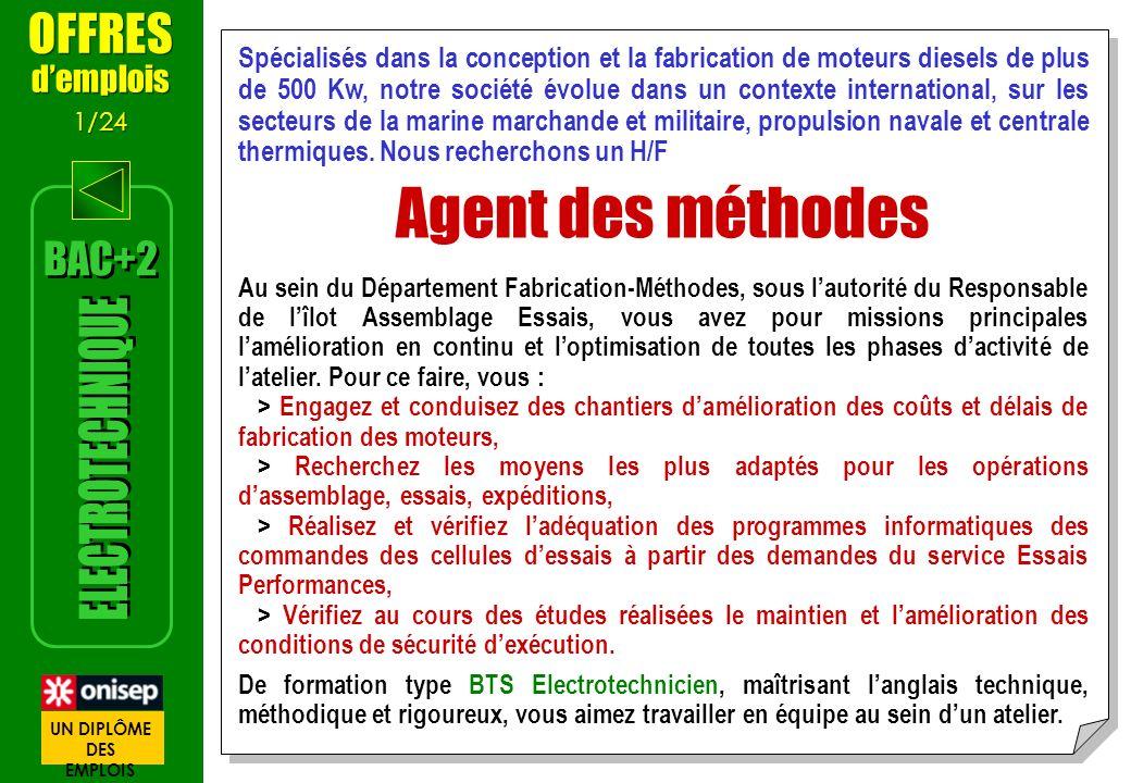 Agent des méthodes ELECTROTECHNIQUE OFFRES BAC+2 d'emplois