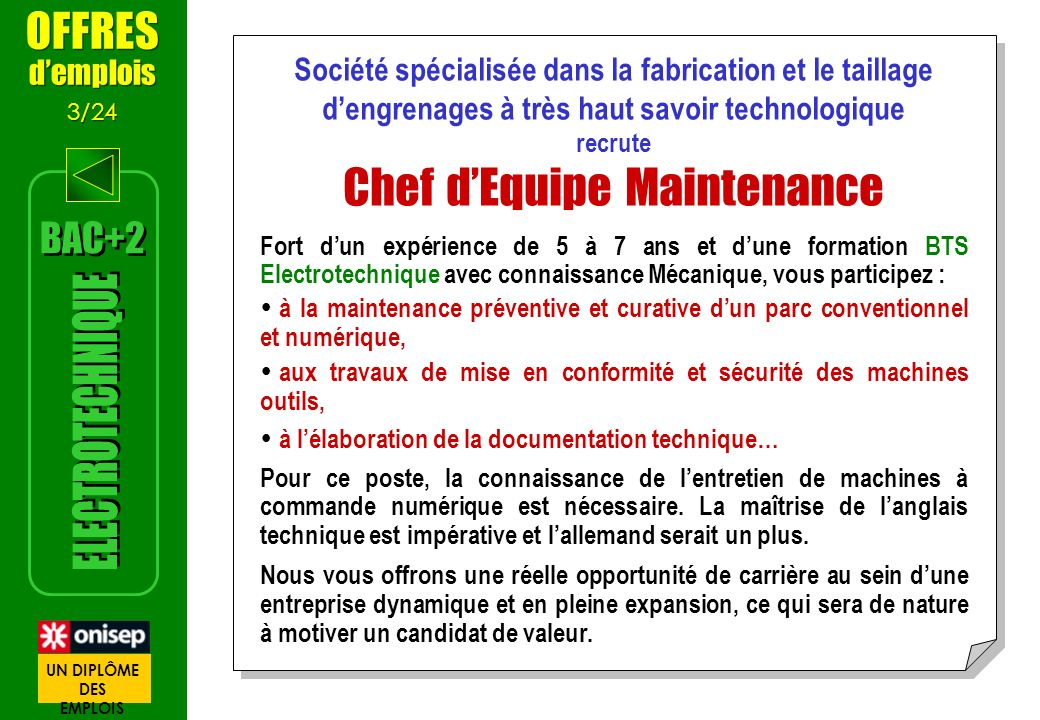 Chef d'Equipe Maintenance