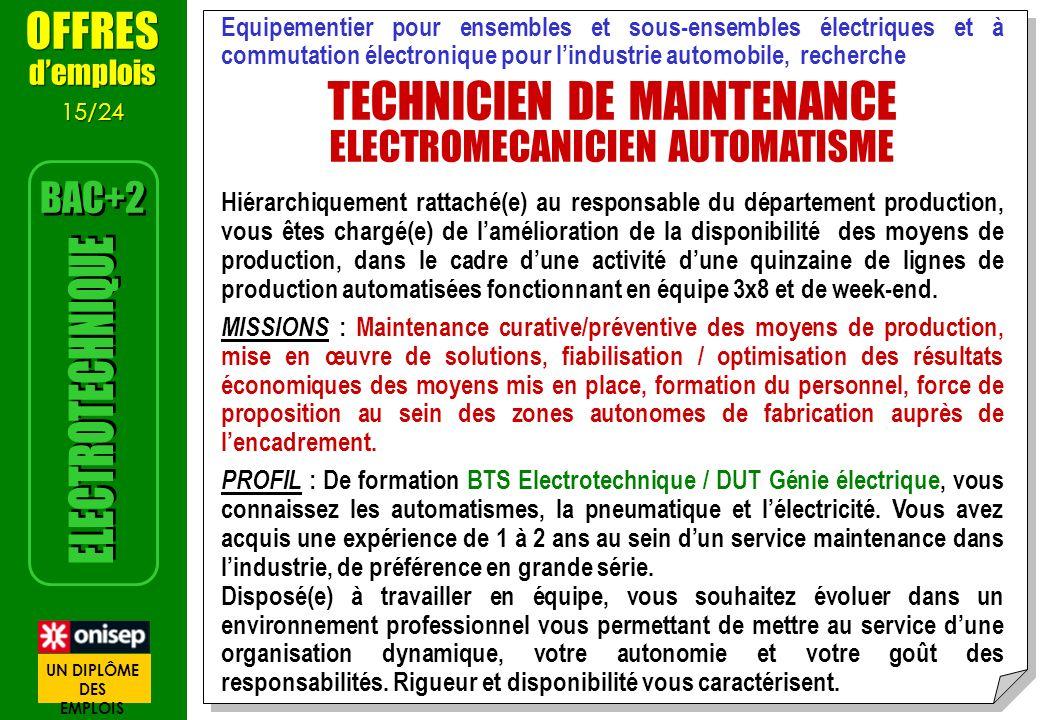 offre d emploi technicien en automatismes