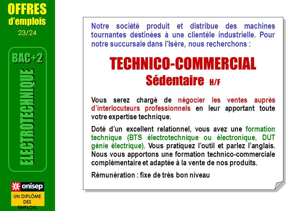 TECHNICO-COMMERCIAL ELECTROTECHNIQUE OFFRES Sédentaire H/F BAC+2