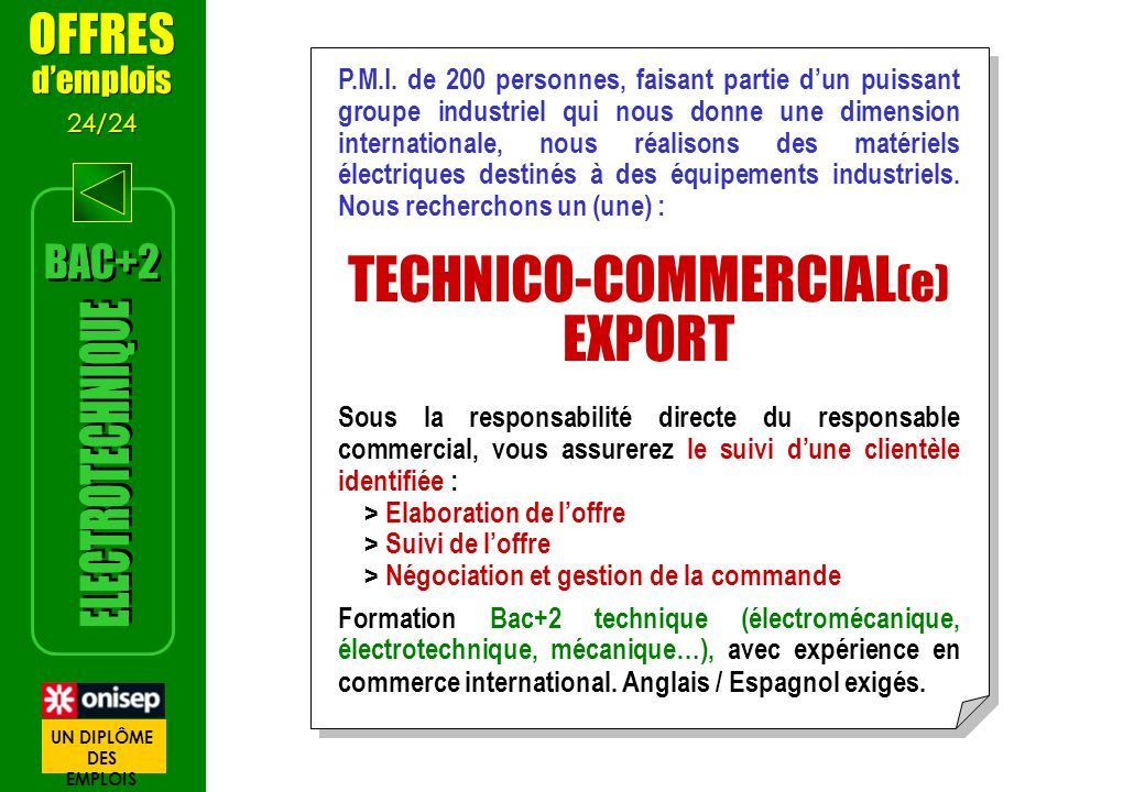 TECHNICO-COMMERCIAL(e) EXPORT