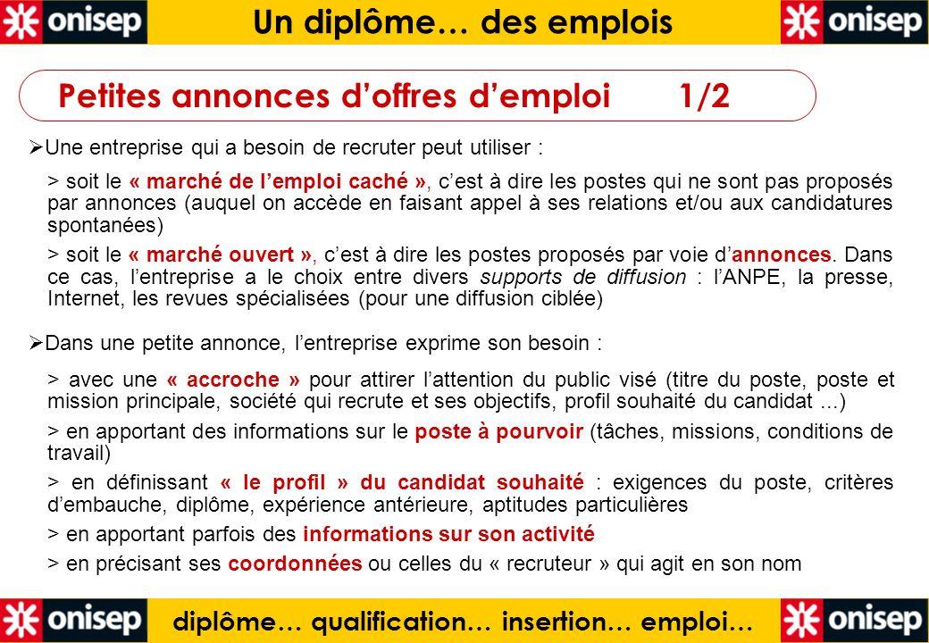 Un diplôme… des emplois diplôme… qualification… insertion… emploi…