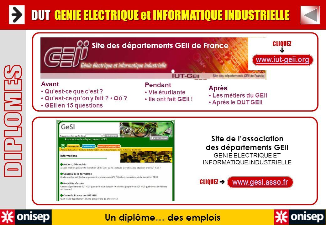 Site des départements GEII de France Un diplôme… des emplois