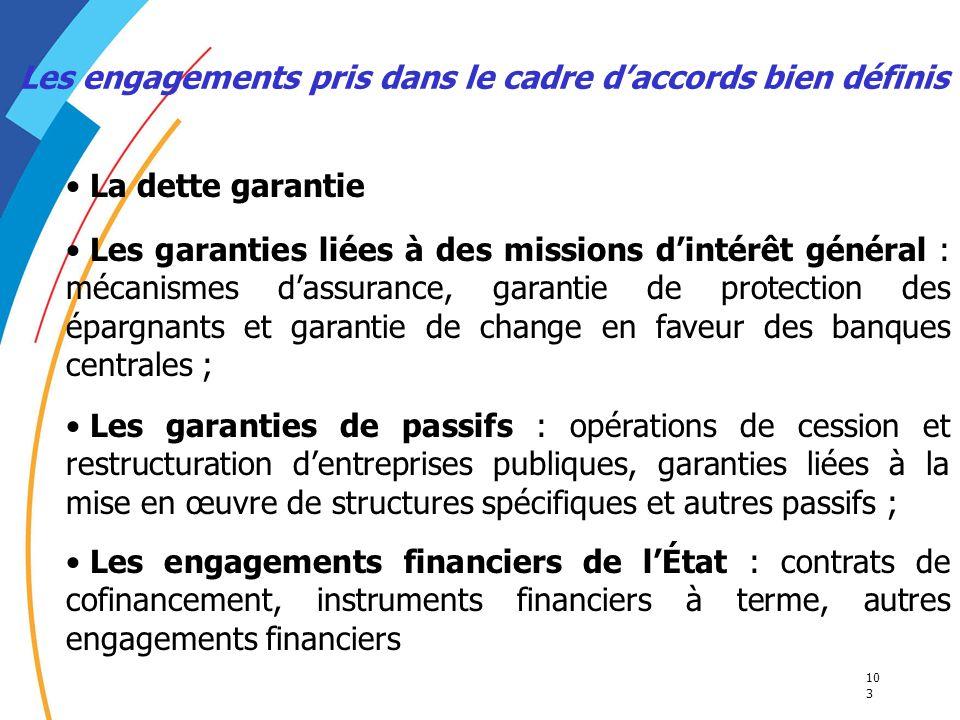 Les engagements pris dans le cadre d'accords bien définis