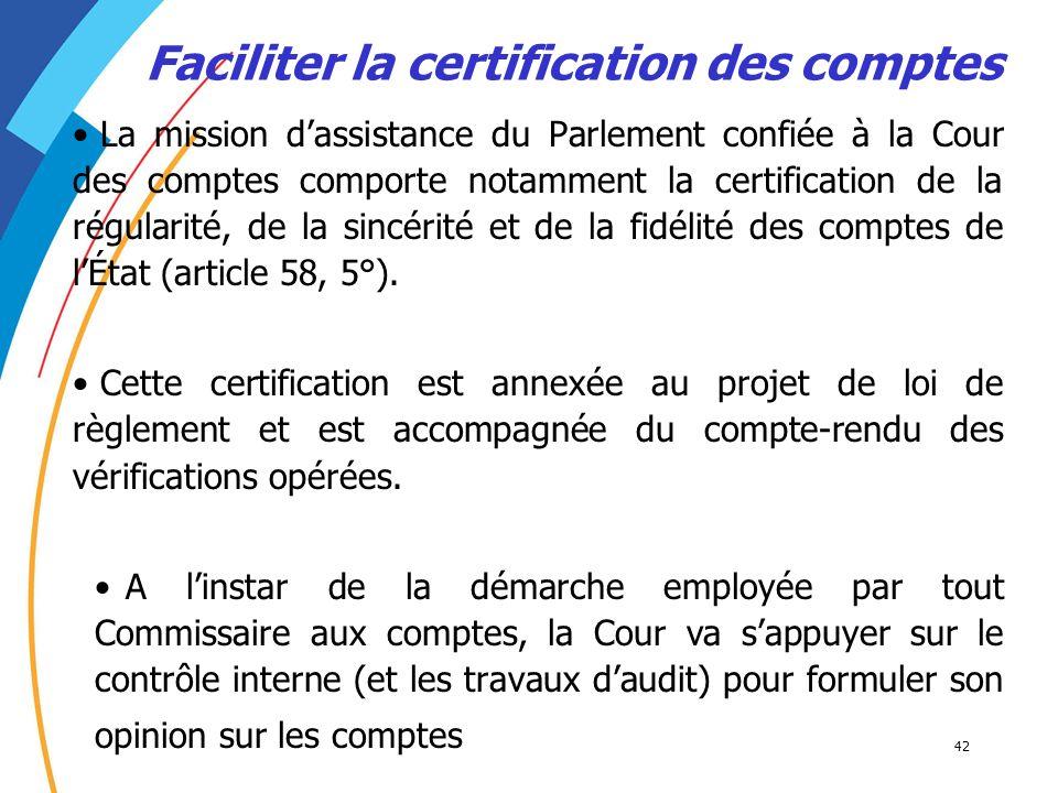Faciliter la certification des comptes