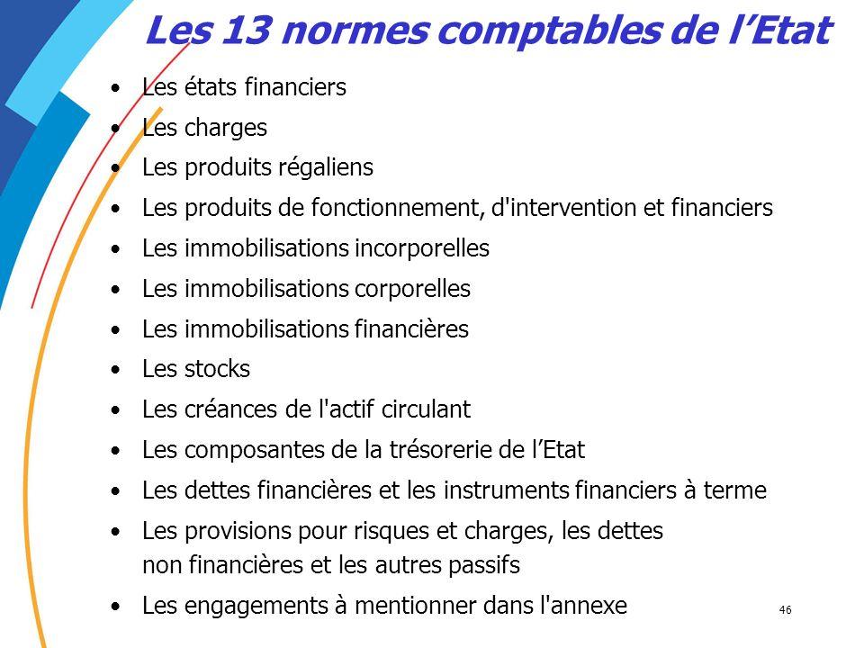 Les 13 normes comptables de l'Etat