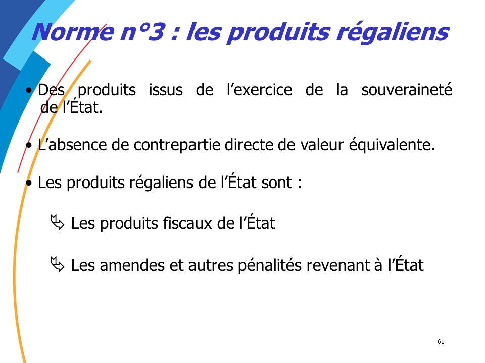 Norme n°3 : les produits régaliens