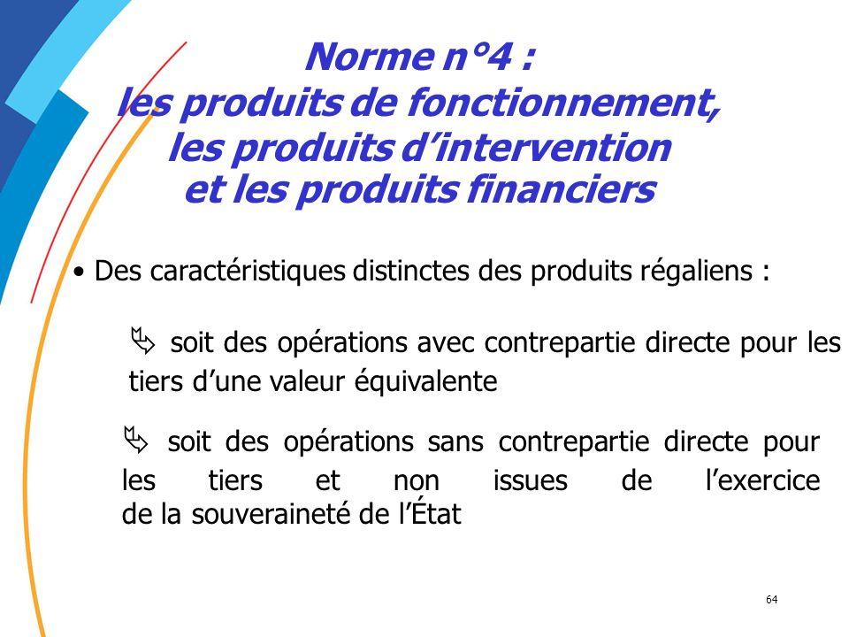 Norme n°4 : les produits de fonctionnement, les produits d'intervention et les produits financiers