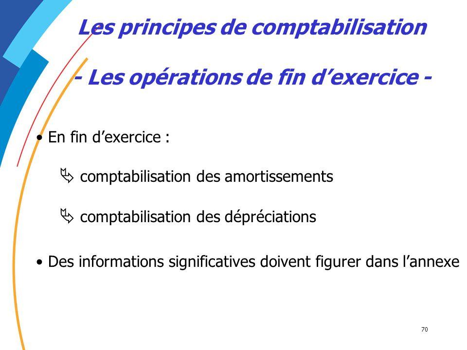 Les principes de comptabilisation - Les opérations de fin d'exercice -
