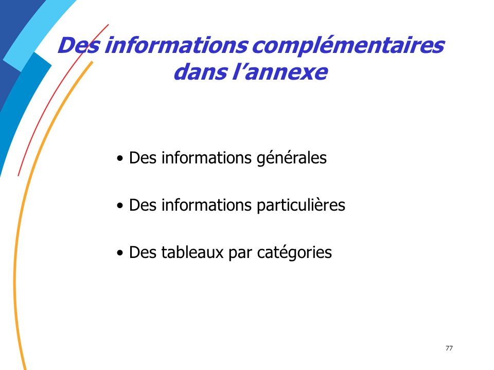 Des informations complémentaires dans l'annexe