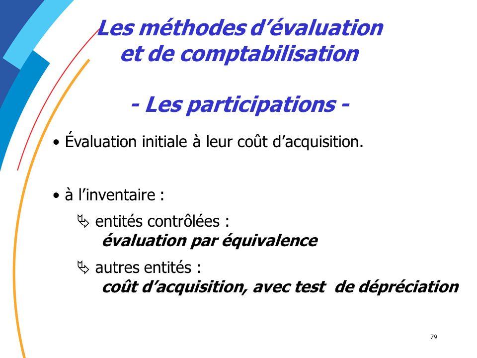 Les méthodes d'évaluation et de comptabilisation