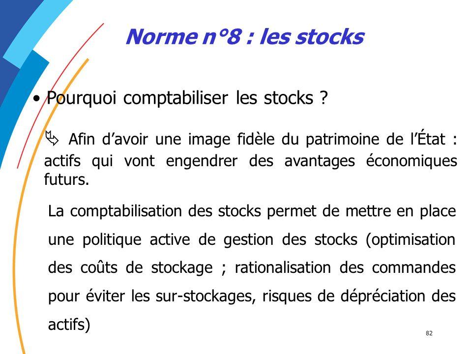 Norme n°8 : les stocks Pourquoi comptabiliser les stocks