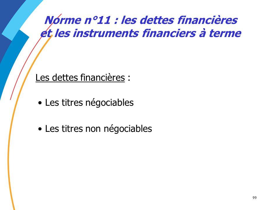 Norme n°11 : les dettes financières