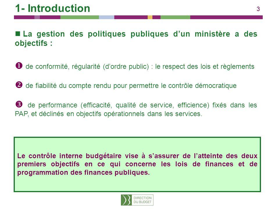 1- Introduction La gestion des politiques publiques d'un ministère a des objectifs :