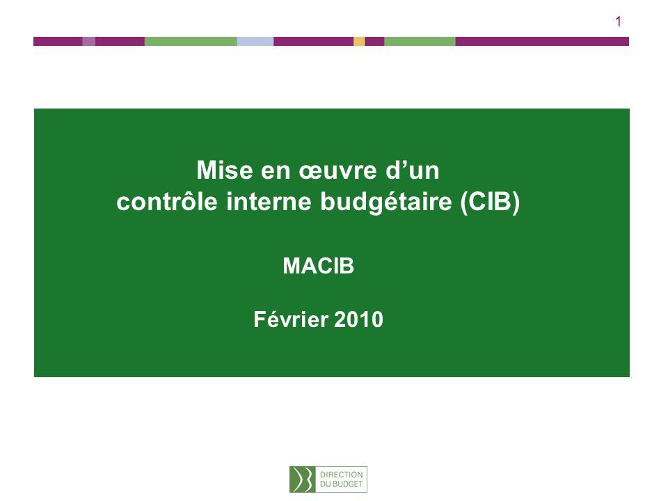 Mise en œuvre d'un contrôle interne budgétaire (CIB)