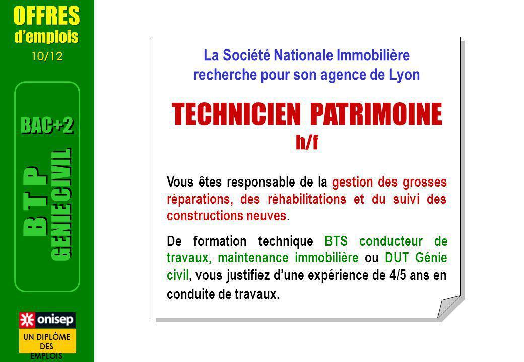 La Société Nationale Immobilière recherche pour son agence de Lyon