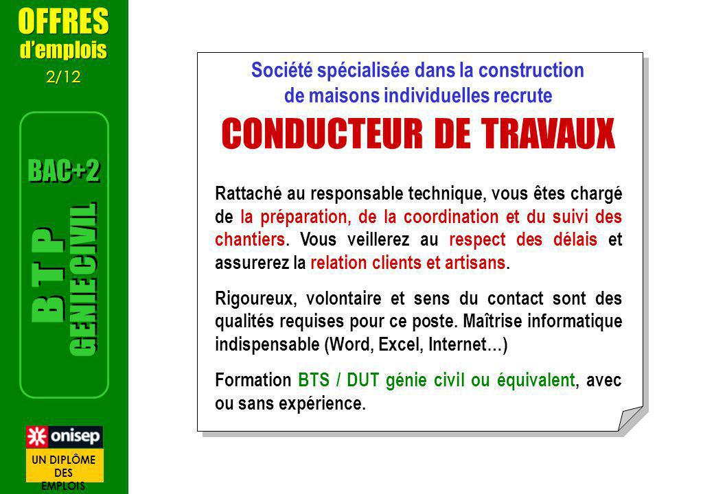 CONDUCTEUR DE TRAVAUX GENIE CIVIL B T P OFFRES BAC+2 d'emplois