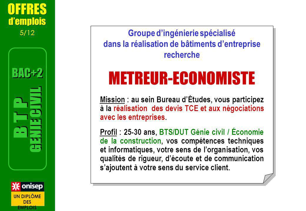 METREUR-ECONOMISTE GENIE CIVIL B T P OFFRES BAC+2 d'emplois