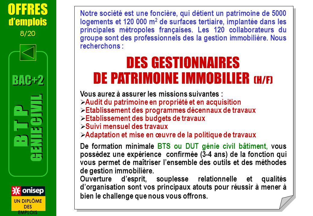 DE PATRIMOINE IMMOBILIER (H/F)