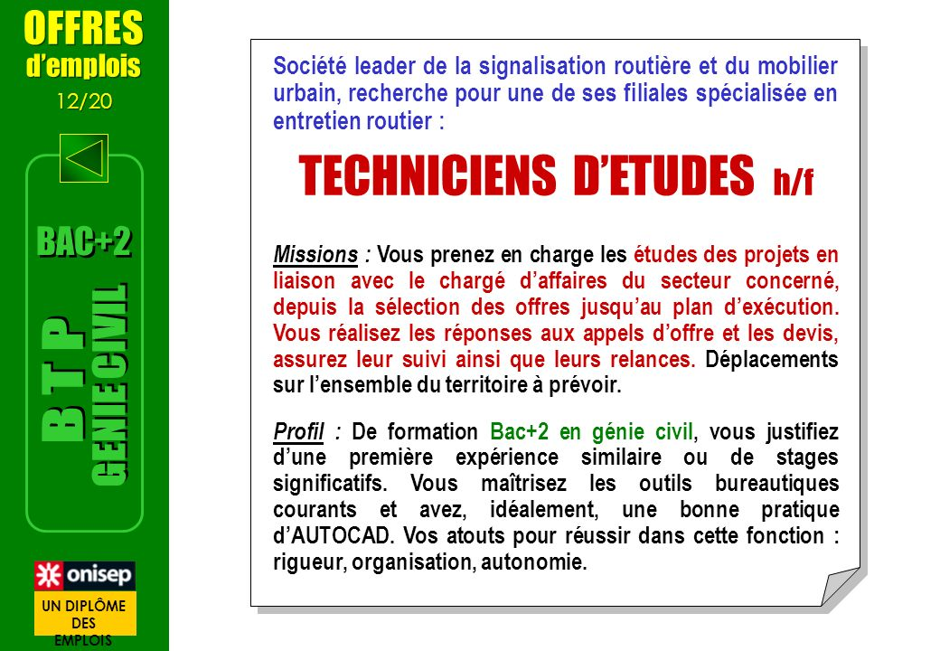 TECHNICIENS D'ETUDES h/f