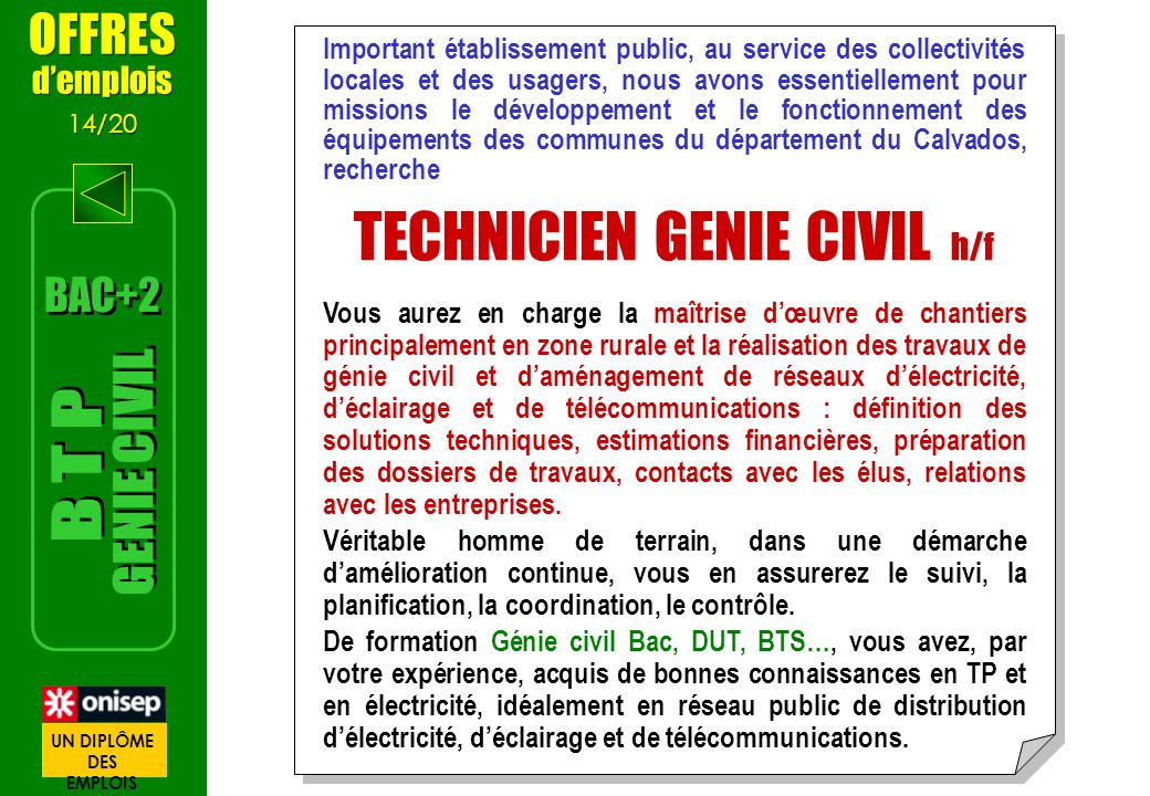 TECHNICIEN GENIE CIVIL h/f