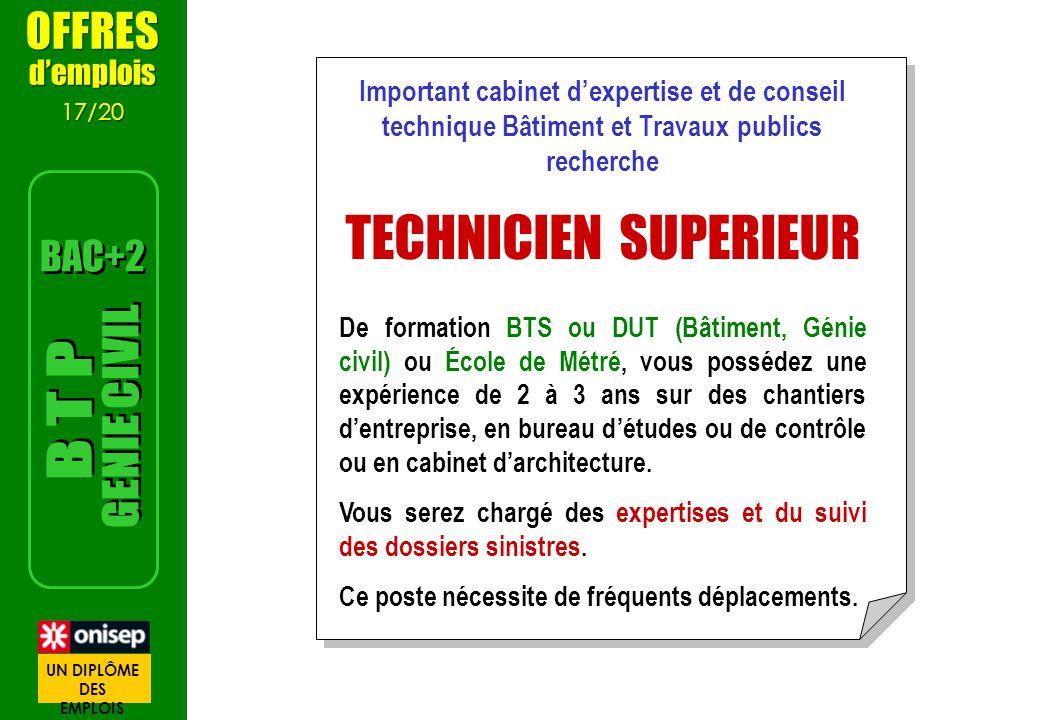 TECHNICIEN SUPERIEUR GENIE CIVIL B T P OFFRES BAC+2 d'emplois