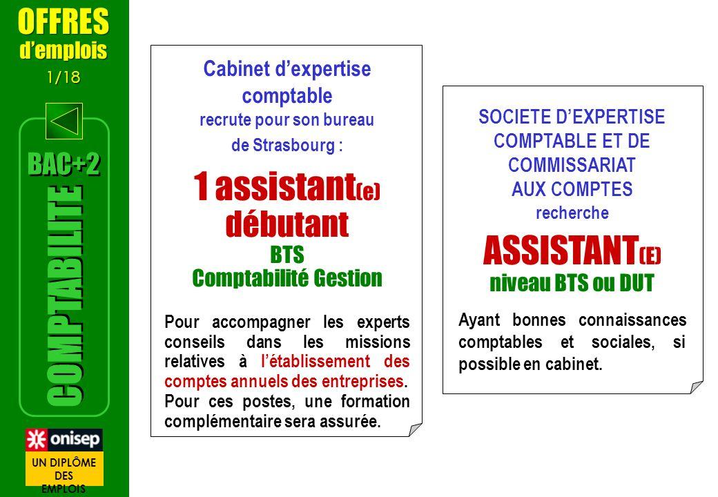 1 assistant(e) ASSISTANT(E) débutant COMPTABILITE OFFRES BAC+2