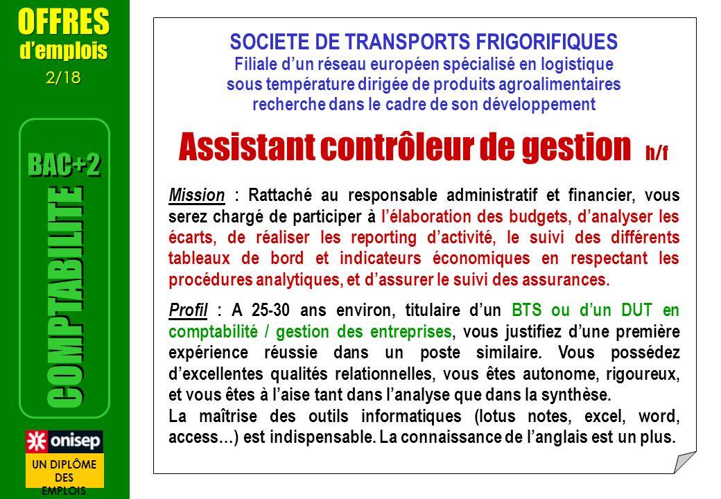 Assistant contrôleur de gestion h/f