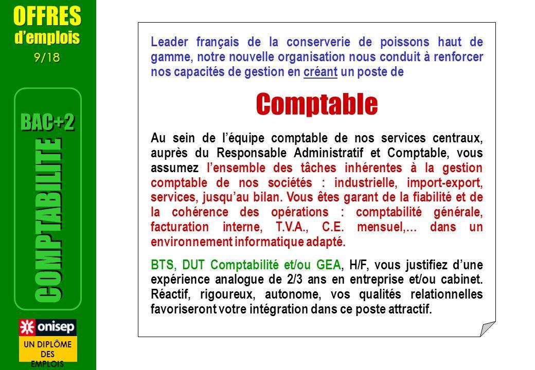 Comptable COMPTABILITE OFFRES BAC+2 d'emplois