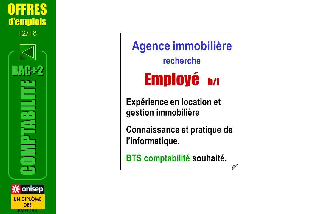 Employé h/f COMPTABILITE OFFRES Agence immobilière BAC+2 d'emplois