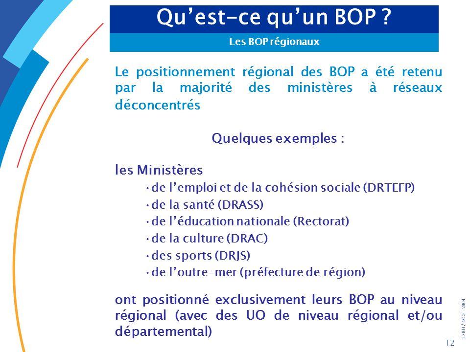 Qu'est-ce qu'un BOP Les BOP régionaux. Le positionnement régional des BOP a été retenu par la majorité des ministères à réseaux déconcentrés.