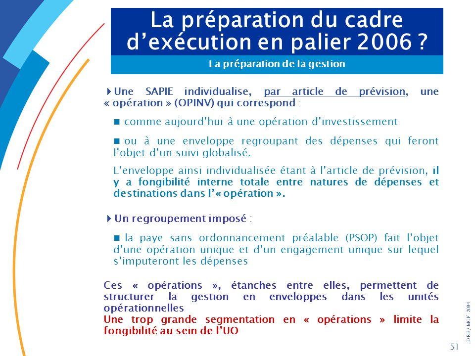 La préparation du cadre d'exécution en palier 2006