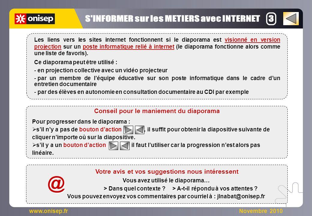 @ S INFORMER sur les METIERS avec INTERNET 3