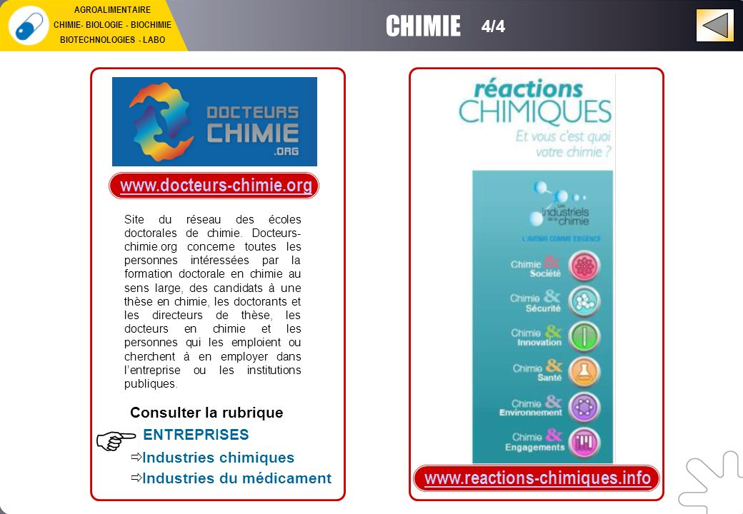 CHIMIE- BIOLOGIE - BIOCHIMIE BIOTECHNOLOGIES - LABO