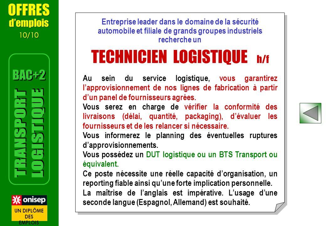 TECHNICIEN LOGISTIQUE h/f