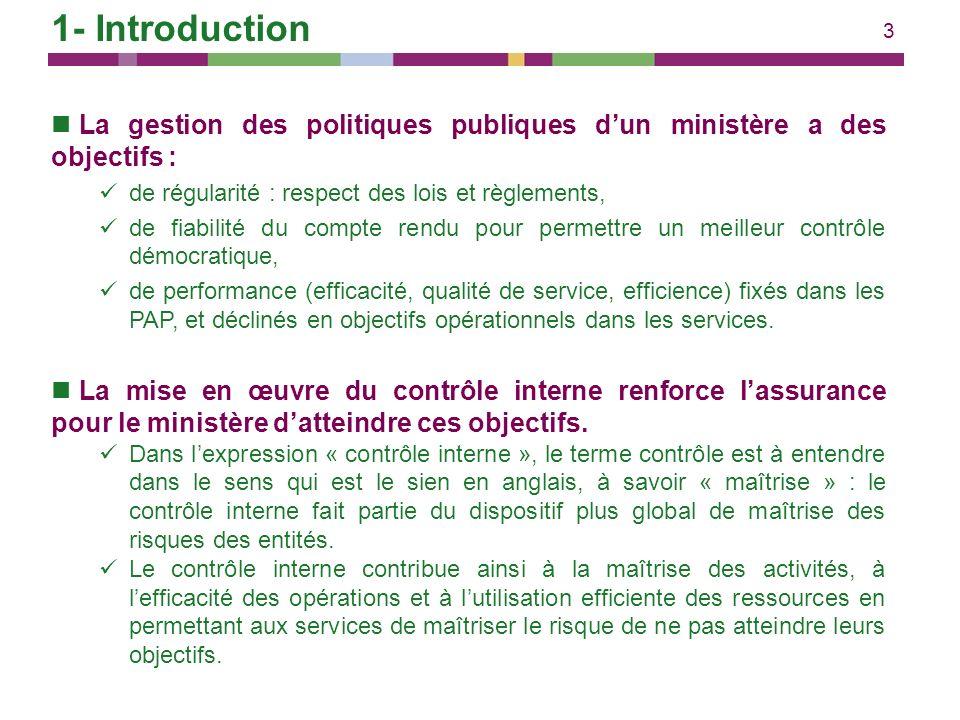 1- Introduction La gestion des politiques publiques d'un ministère a des objectifs : de régularité : respect des lois et règlements,