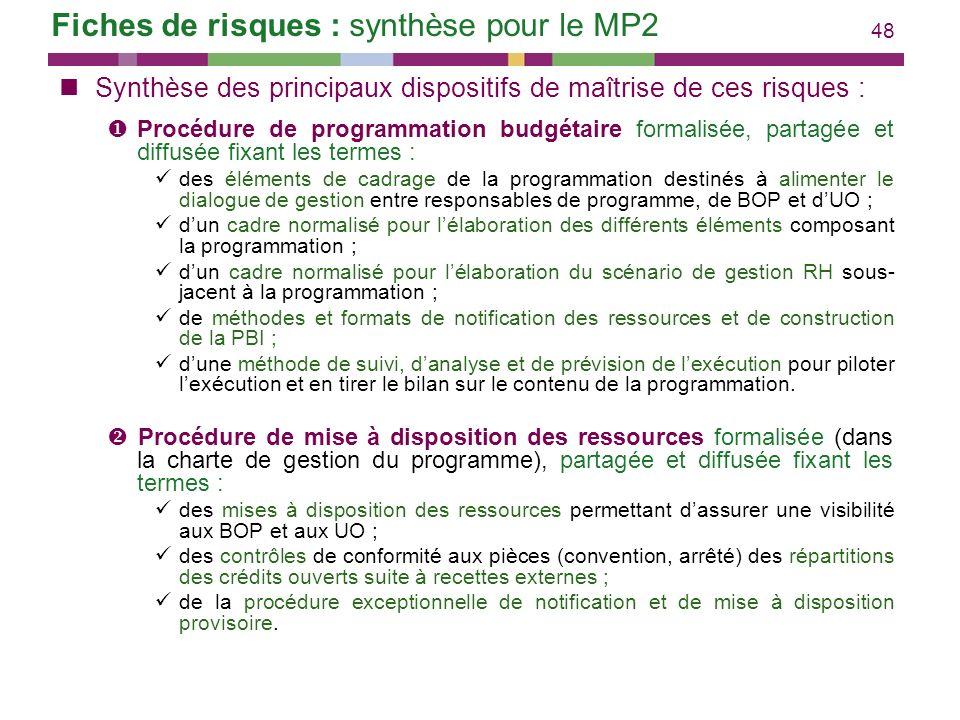Fiches de risques : synthèse pour le MP2