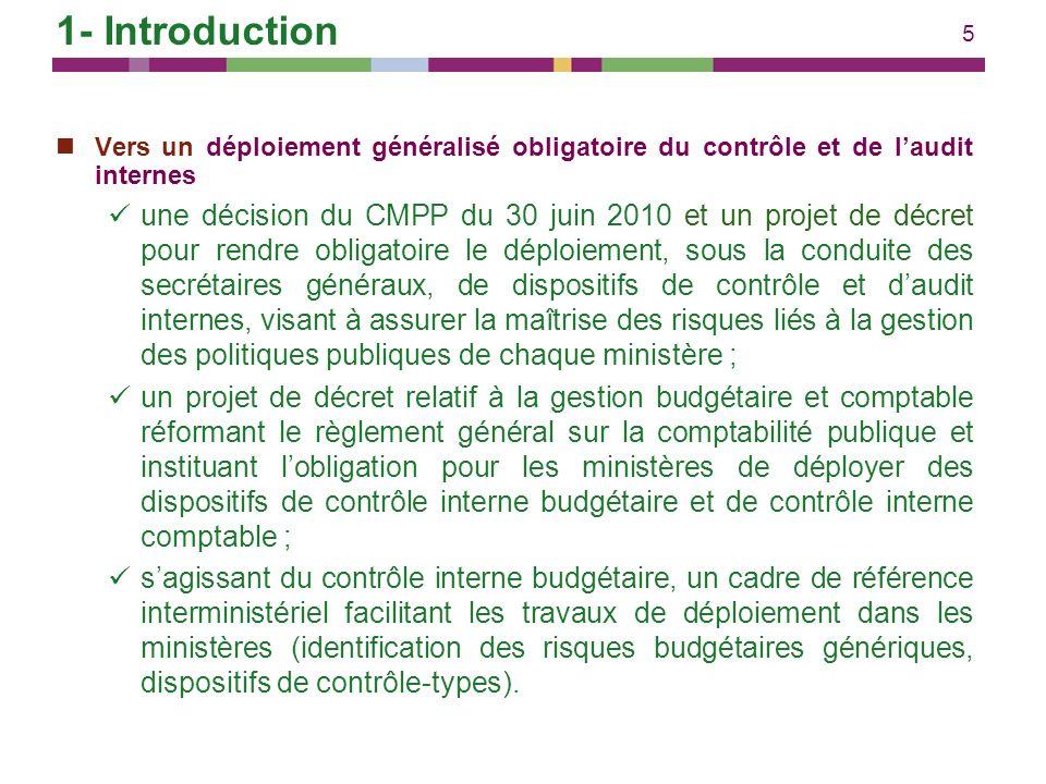 1- Introduction Vers un déploiement généralisé obligatoire du contrôle et de l'audit internes.