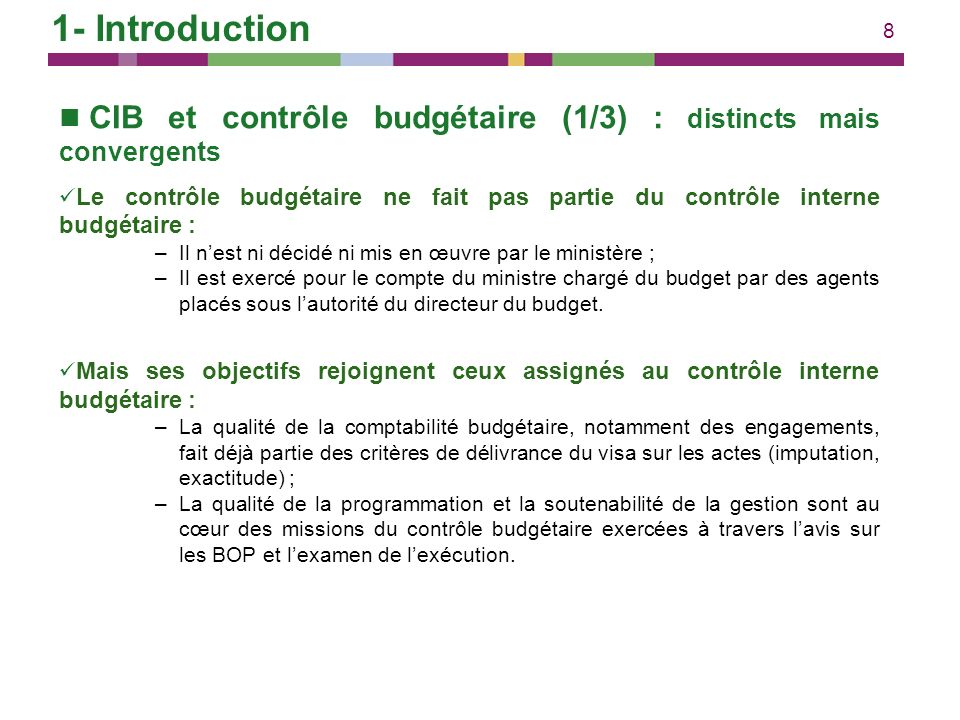 1- Introduction CIB et contrôle budgétaire (1/3) : distincts mais convergents.