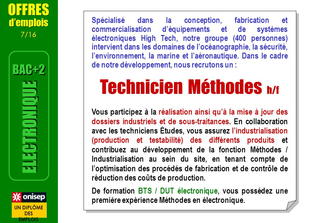 Technicien Méthodes h/f