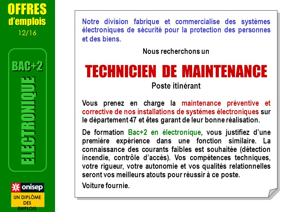 TECHNICIEN DE MAINTENANCE